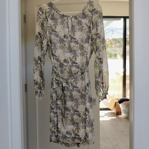 Tory Burch Long Sleeve Silk Shift Dress Leaf Camo